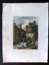 After Cattermole 1834 Hand Col Print. Water Mill, Westmoreland